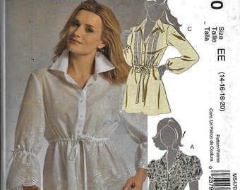 McCall's M5470 Shirt Tunic Blouse Sewing Pattern 3 Variations UNCUT 5470 Plus Size 14, 16, 18, 20