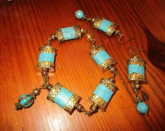 Heavenly Tibetan Repousse Brass & TURQUOISE 5-Link BRACELET w/Turquoise Charm and Matching Pierced EARRINGS w/Turquoise Drops