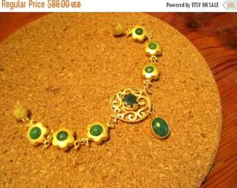 A Classic: Bezel-Set 22K Gold Oriental Fretwork DEEP GREEN JADE Foci Bracelet w/6 Green Jade/Gold Floral Links, Magnetic Clasp, Jade Charm