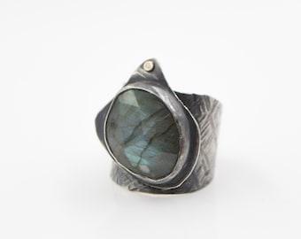 Labradorite Hammered Sterling Silver 10kt Gold Ring