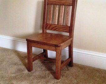 Wood Children's Chair 12 inch Dark Oak Mission Style - Quality Children's Furniture Made to Order
