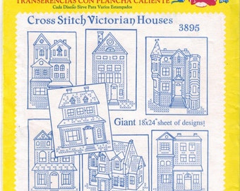 Aunt Martha's Hot Iron Transfers #3895, Cross Stitch Victorian Houses