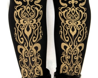 Art Nouveau Printed Tights Small Medium Gold on Black 80 D Mucha Pattern Arty Street Style Leg Wear