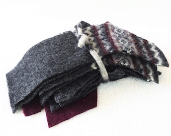 Destash Wool Scraps Charcoal GRAY & BURGUNDY Coordinating Felted Sweater Wool Fabric Scrap Pack Wool Pieces Destash by WormeWoole