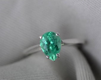 Emerald Ring, Colombian Emerald Solitaire Ring 1.58 Carats Certified At 1,250.00, Sterling Silver, Genuine Emerald Jewelry, Pear Cut