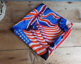 Vintage French Scarf in silk American flag Union Jack French flag Patriotic  Scarf for framing