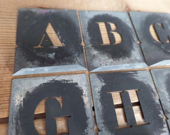 vintage set of French metal stencils letters templates