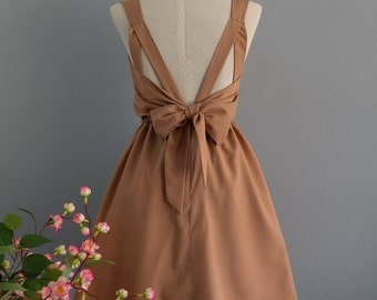 Christmas SALE A Party V Backless Dress Ice Coffee Dress Prom Party Dress Brown Cocktail Dress  Brown Wedding Bridesmaid Dress Bow Back Dres