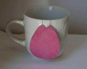 Pink Suede Leather Teardrop Drop Earrings