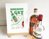 Vintage Poster Lithograph French Advertisement for Peppermint Alcohol Liqueur