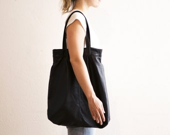 The Marrakech Leather Tote Bag in Black
