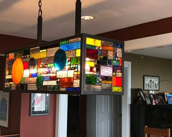 Chandelier stained glass panel inserts     box billiard table lamp