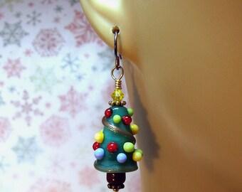 Happy Christmas Tree Earrings Xmas tree Artisan Lampwork Bead Lampwork Glass Art Jewelry Niobium Earrings Artisan Jewelry