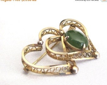 Sale Pre Holliday Vintage Designer 12 KG F Jade Hearts, Filigree Hearts Pin, Brooch Signed 1/20th 12 KG