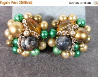 ON SALE Vintage Beaded Earrings, Green and Gold Beads, Topaz Crystal Signed Japan