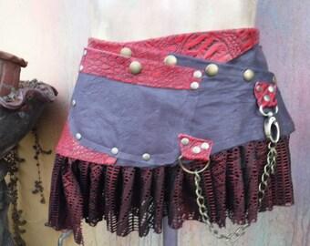 "20%OFF bohemian tribal gypsy croc print & deep purple leather belt..34"" to 42"" waist or hips.."