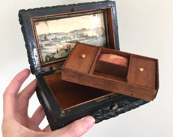 Antique wooden jewelry jewellery box with landscape painting on inside