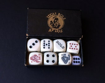 Vinatge Dice Playing Card Set Poker Game Lucas Bols 1960s 60s Collectible Souvenir