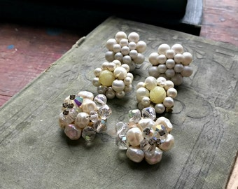 3 Sets Clip Earrings / Vintage Cluster Wedding Whites Crafting Pieces / Brooch Bouquet Filler / Altered Art or Assemblage Pieces (H7)