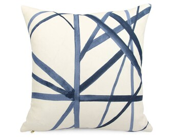 Groundworks Periwinkle Blue Channels Pillow cover, Square Euro or Lumbar, Geometric Cushion Sham, Cream Blue Luxe Designer Linen Toss Pillow