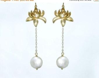 20% off. Moonlit lotus. Lotus flower and moon pearl earrings. Long gold filled earrings with coin pearl drop. bridal wedding