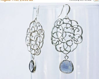 20% off. Pollock earrings in silver with black diamond colored framed briolette.  prom graduation