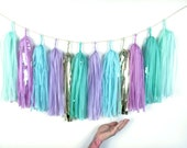 Teal Blue, Mint, Lavender Purple, Gold Tassel Garland - Mermaid Party Decor, Frozen Winter Wonderland Birthday Decorations