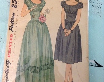 Simplicity 1775 Vintage Teen Gown Formal Dress Sewing Pattern Bust 30 Inch