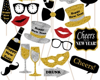 New Year Photo Props, Printable Photo Booth Props, Holiday Props, NYE Party, Instant Download - DP404