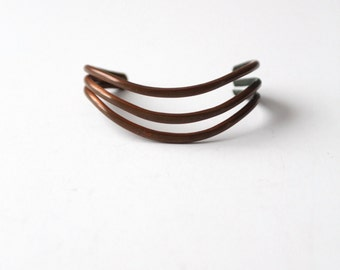 vintage copper cuff, 1970s three band bracelet