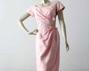 1950s pink cocktail dress, vintage taffeta party dress