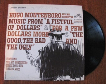 """Vintage """"Fistful of Dollars"""" Trilogy Vinyl Record Album Starring Clint Eastwood - 60's Movie Soundtrack - Spaghetti Western - Montenegro"""