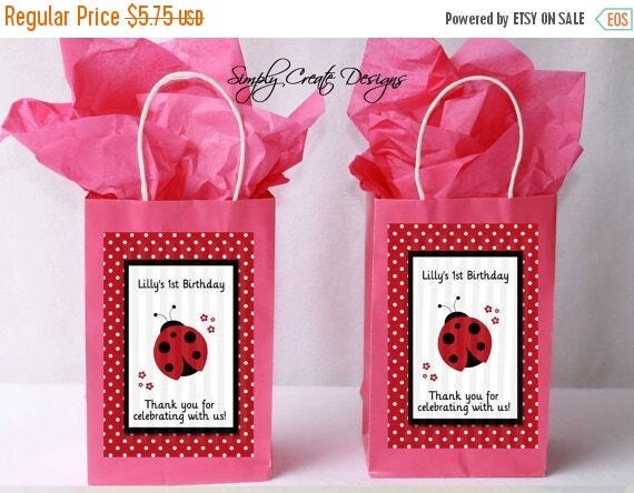 SALE Ladybug Favor Tag DIGITAL FILE 4x6 Jpeg Digital File Personalized