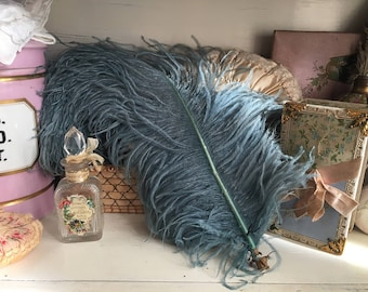 Antique Vintage Large Hat Millinery Feather Faded Dusty Blue Ostrich Feathers Plume Shabby Chic
