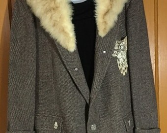 Beautiful Vintage Upcycled Blazer Embellished with Antique buttons, Lace, and Jewelry