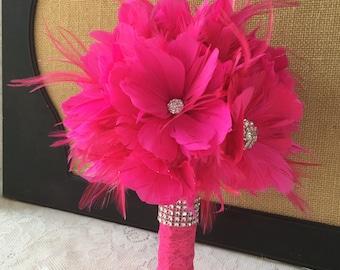 Feather Wedding Bouquet,Fuchsia Bridal Bouquet, Gatsby Bouquet, Hot Pink Bouquet, Brooch Bouquet, Alternative Bouquet,MANY COLORS AVAILABLE