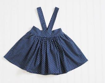 Navy and White Polka Dot Suspender Skirt