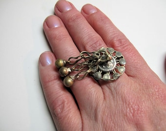 Tribal Ring,with Bells on Her Fingers, from Afghanistan-Size 9