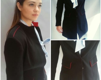 Navy Blue blazer, thigh length, military style / CT boutique