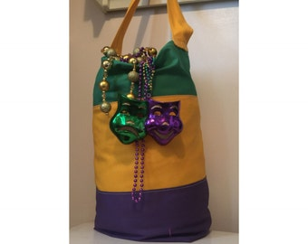 Throw Me Something Tall Tote Mardi Gras Bead Bag with personalization