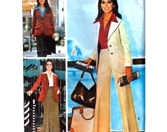 "Vintage 70s Sewing Pattern Women's Suit Jacket Skirt and Pants Trousers Size 12 Bust 34"" (87 cm) McCall's 4651 - S"
