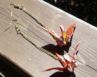 Paper crane drop earrings - red