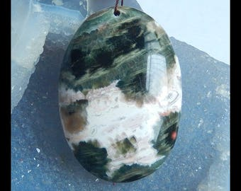 Natural Ocean Jasper Gemstone Pendant Bead,Oval Pendant,55x38x11mm,36.26g(e0529)