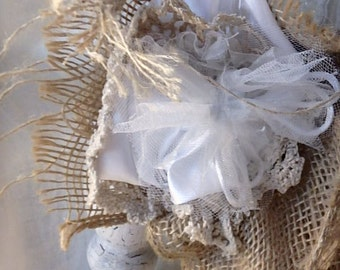 Wedding - custom-made, eco-friendly, pew bows, table/chair decor, jute, burlap, old lace