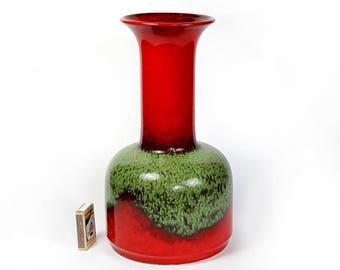 "Jasba Chimney Pop Art Vase Style 602 30 cm / 11.8"" Vibrant Color W. Germany Pottery Ceramic Fat Lava Era 1960s"