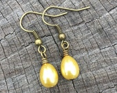 Yellow Teardrop Pearls . Earrings