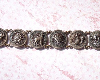 Lovely Vintage Antique Silver Metal Flower & Animal Charm Bracelet - Spring Vintage Finds - Vintage Bracelet - Aged Patina