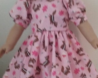 Americangirl 18 inch doll dress pink with chipmunks cotton print