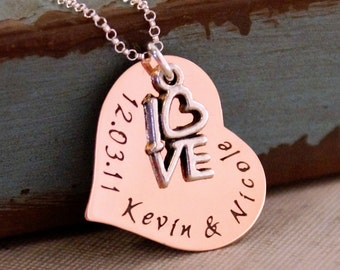 Hand Stamped Copper Necklace - Personalized Jewelry-  Love Date (Anniversary) Heart Necklace