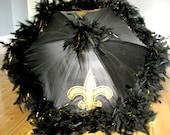 Second Line Umbrella MEDIUM- New Orleans Saints Black Gold Fleur de Lis- feather trim- any colors- Football- Team Colors Party Tailgate